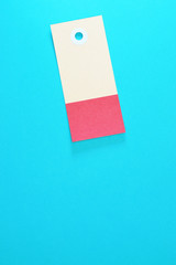 rectangle paper tag on blue background vertical template