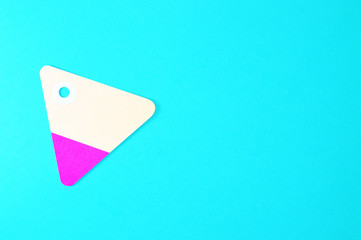 triangle paper tag on blue background horizontal template