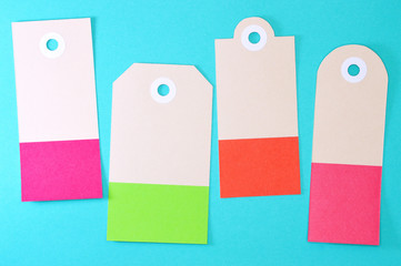 rectangle paper tags on blue background horizontal template