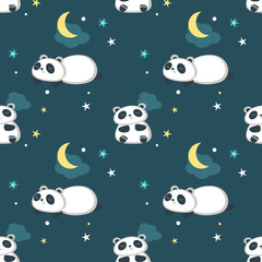 Vector seamless pattern with cute little panda