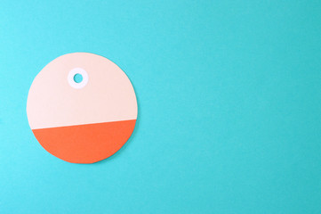 circle paper tag on blue background horizontal template