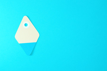 diamond paper tag on blue background horizontal template