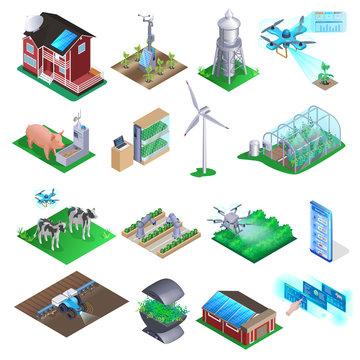 Smart Farm Element Set. Agriculture Technology