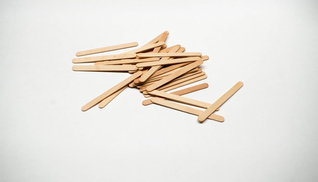 White birch wood popsicle sticks used in the shop as stirrers and applicators
