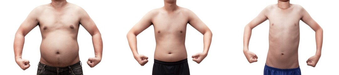 body Evolution of boys to obese adults . man and young boy fat isolated on white background with clipping path