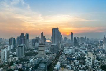 Fotobehang Amerikaanse Plekken Golden hour of the Metropolitan Bangkok City downtown cityscape urban skyline tower Thailand.