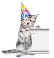 Cat in birthday hat pointing on empty list. isolated on white background