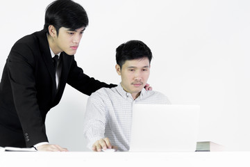 Asian manger businessman and employee salary man has working together with feeling happy and success, isolated on white background.