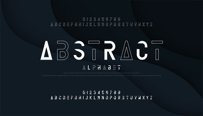 Abstract thin line font minimal alphabet. modern fonts and numbers. Typography urban typeface uppercase and number. vector illustrationint
