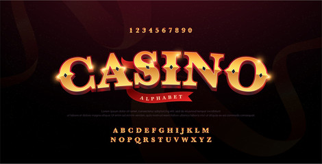 Fototapeta Casino luxury 3d alphabet gold logotype with royal font. Typography red and golden fonts letters uppercase and number. vector illustration