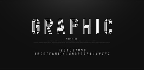 modern alphabet thin line fonts and numbers. Typography urban font uppercase and number. vector illustrati