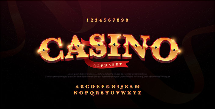 Casino luxury 3d alphabet gold logotype with royal font. Typography red and golden fonts letters uppercase and number. vector illustration