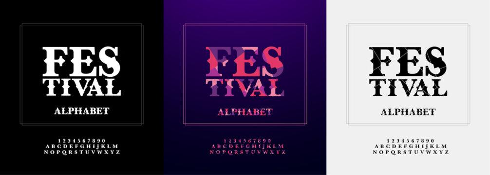 festival modern alphabet and number font set. Typography color paper cut fonts design for festival or celebration. vector illustration