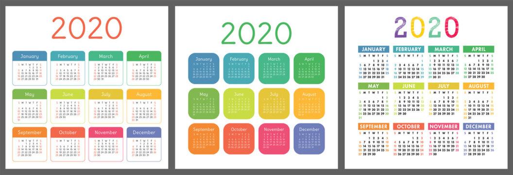 Calendar 2020 year. Vector calender design template. Colorful set. Week starts on Sunday