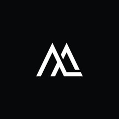 Outstanding professional elegant trendy awesome artistic black and white AL LA LM ML RJ initial based Alphabet icon logo.