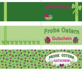 Gutscheinkarten für Ostern, in DIN lang querdoppelt. Mit Text in deutsch: Frohe Ostern und Gutschein. Vektor Datei eps 10