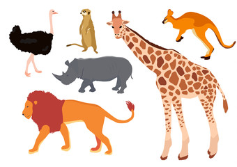Africa animal decorative set colorful isolated vector illustration