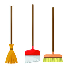 Set of three brooms vector design illustration isolated on white background
