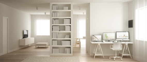 Panoramic view of one room apartment with parquet floor, home workplace with corner desk in white living room, bookshelf, office in minimalist style, modern architecture concept