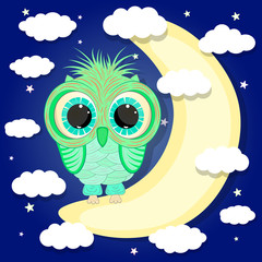 Cute owl sitting on the moon cartoon vector illustration