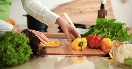 Unknown human hands cooking in kitchen. Woman slicing yellow bell pepper. Healthy meal, and vegetarian food concept