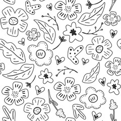 Spring flowers. Vector seamless pattern with flowers, leaves and hearts. Fresh pattern for home decor. Seamless pattern can be used for pattern fills, web page background, surface textures.