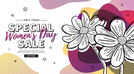 Modern Template design for 8 march event.  Promotion banner  for international women's day offer with flower decoration.  Line illustration blossom floral with abstract geometric shape sale. Vector