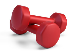 Pair of red Dumbbells isolted on white - 3d rendering