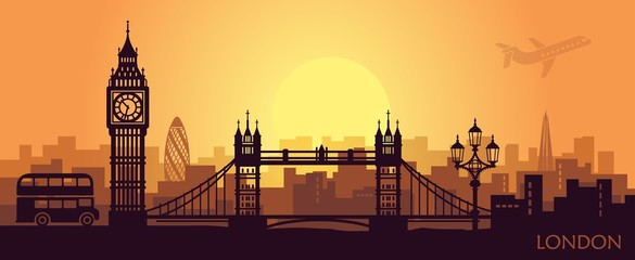 Wall Murals Deep brown Stylized landscape of London with big Ben, tower bridge and other attractions