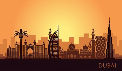 Deurstickers Bruin Abstract city skyline with sights of Dubai