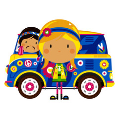 Recess Fitting Cars Cartoon Hippies and Retro Camper Van