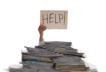 Person under a pile of papers with a hand holding a sign of help. Accounting. Wall mural