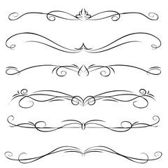 Hand drawn vector vintage swirl borders frames set