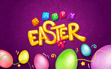 Happy Easter logo yellow inscription and colorful eggs on purple background