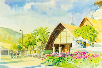 Watercolor landscape original painting colorful of night safari garden