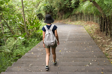 Asian woman hiking