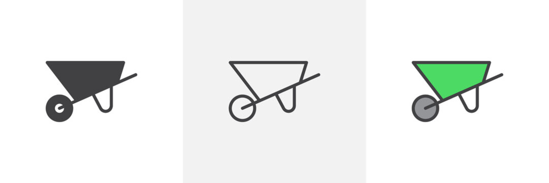 Construction wheelbarrow icon. Line, glyph and filled outline colorful version, farm wheel barrow outline and filled vector sign. Symbol, logo illustration. Different style icons set. Pixel perfect