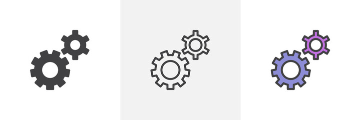 Setting gears icon. Line, glyph and filled outline colorful version, clock gear outline and filled vector sign. Symbol, logo illustration. Different style icons set. Pixel perfect vector graphics