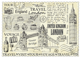 Stamp London with Big Ben and Tower Bridge.