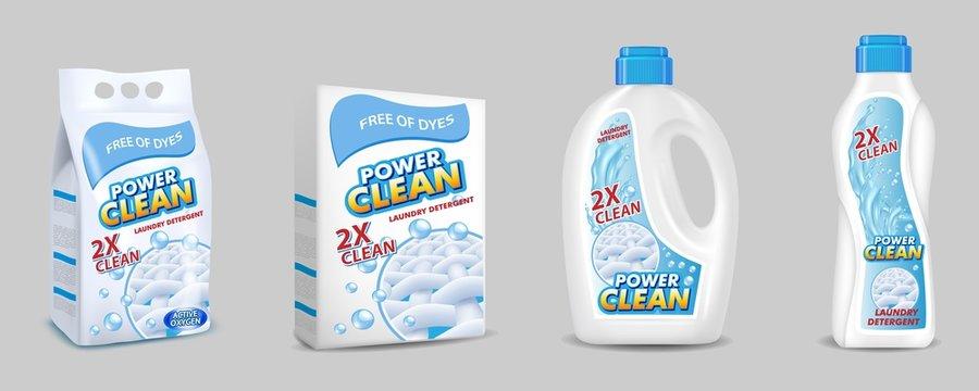 Laundry detergent pack mockup set, vector realistic illustration