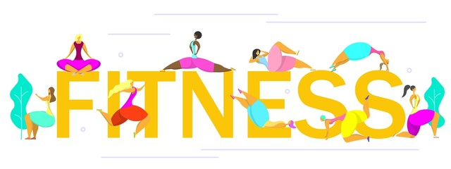 Fitness time vector poster banner design template