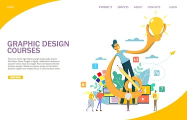 Graphic design courses vector website landing page design template