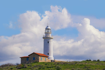 Lighthouse at the Paphos Archaelogical Park in spring, Cyprus