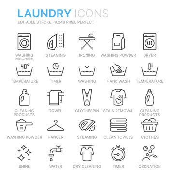 Collection of laundry line icons. 48x48 Pixel Perfect. Editable stroke