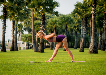 Beautiful young woman practic yoga at the beach. Early morning exercise