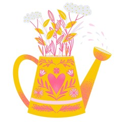 Illustration of watering can with flowers
