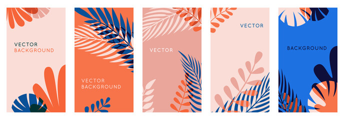 Vector set of abstract backgrounds with copy space for text, leaves and plants - bright vibrant banners in red and blue colors, posters, packaging cover design templates, social media stories wallpape Fototapete