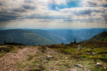 The view from mountain Krakonos and Kozi hrbety to the valley.