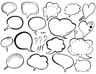 Speech Bubble. Hand-drawn painted speech bubbles for t-shirt print, flyer, poster design. Black Speech Bubbles isolated on white background.