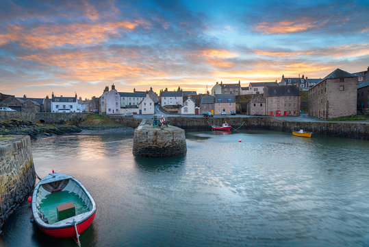 Sunset over Portsoy a fishing village in Aberdeenshire on the east coast of Scotland